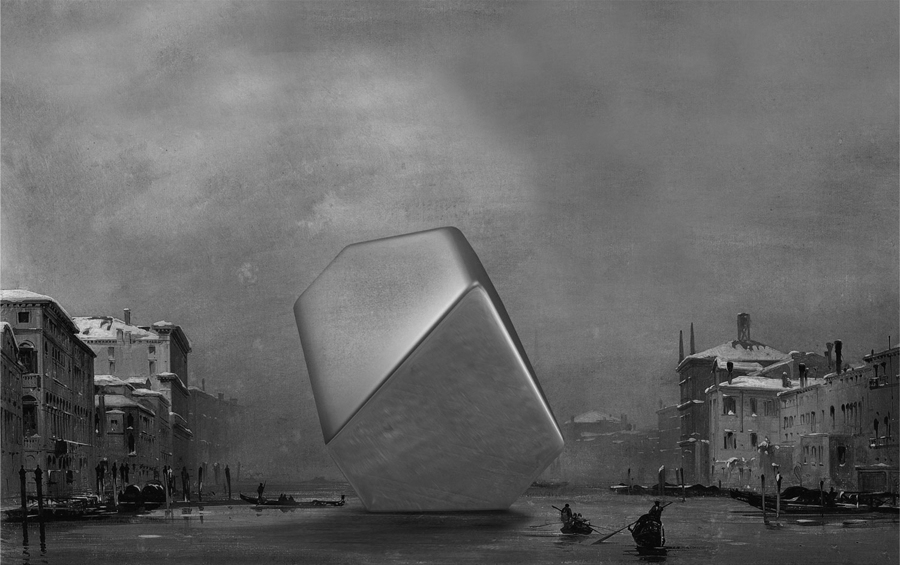 """""""Il Canal Grande con la chiesa della Salute sotto la neve"""" de Ippolito Caffi, intervenido por Alexander Mueller"""