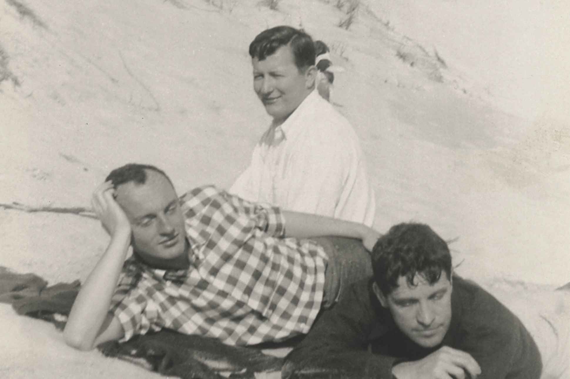 Frank O'Hara, Hal Fondren and Fairfield Porter in Southampton in spring 1954