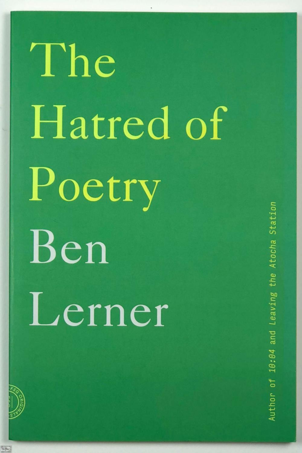 Portada The Hatred of Poetry